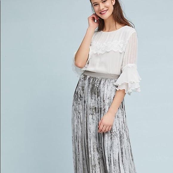 4bbc93362a Anthropologie Skirts   Sale Silver Pleated Velvet Maxi Skirt   Poshmark